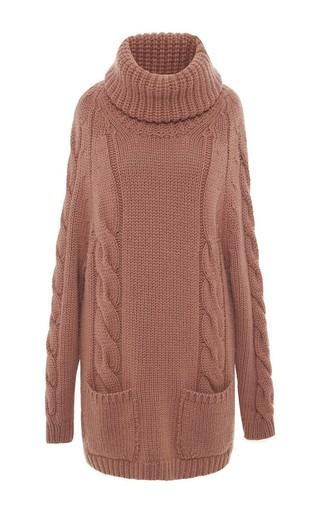 Medium blumarine pink salmon cashmere turtleneck sweater dress