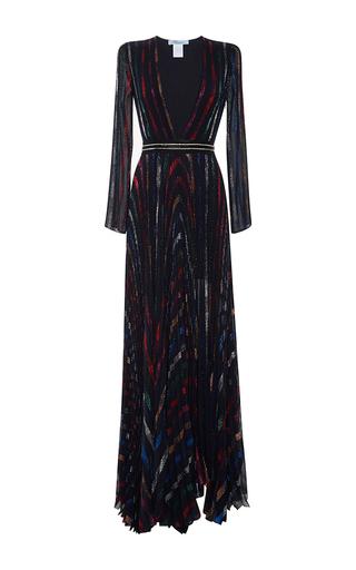 Medium blumarine print striped lurex plunge v neck gown