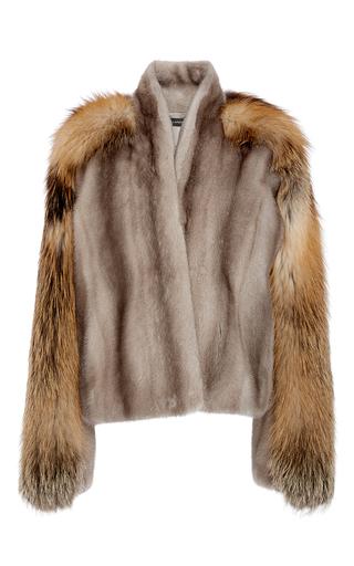 Medium sally lapointe dark grey mink fur with cross fox fur panel jacket
