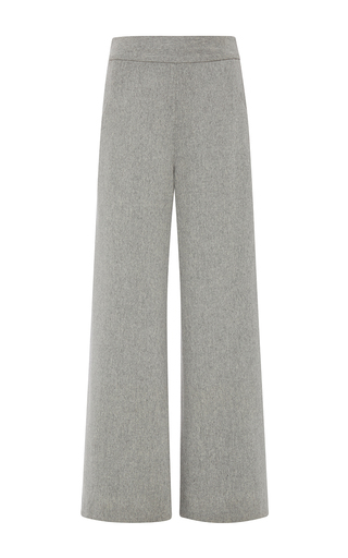 Medium sally lapointe dark grey lightweight wool wide leg trouser