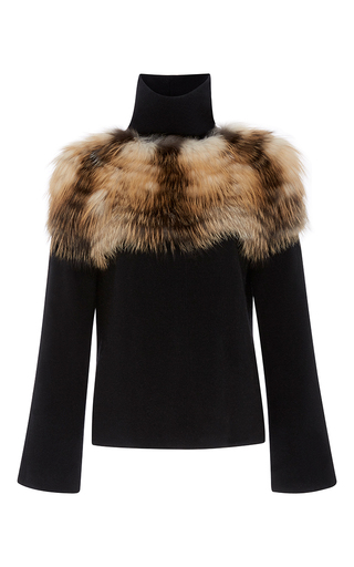 Medium sally lapointe black felted cashmere wool turtleneck with silver fox