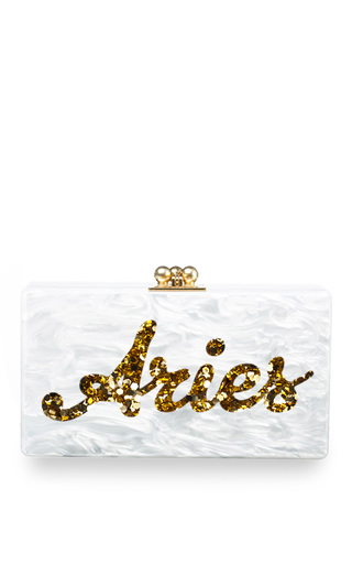Medium edie parker white edie parker customizable jean clutch in white pearlescent with gold script text uk name nini 2