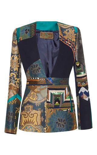 Medium etro blue midnight patchwork embroidered collarless jacket