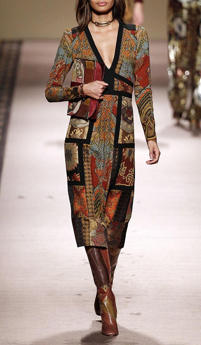 hot sale online 35517 48e1a Terra Cotta Jacquard Patchwork V-Neck Dress