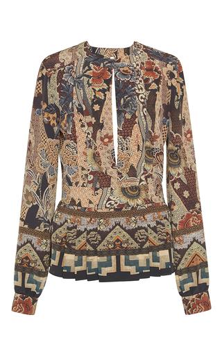 Medium etro print wallpaper floral keyhole blouse
