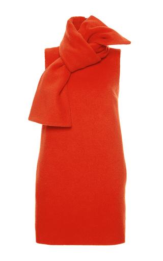 Orange Wool Scarf Neck Shift Dress by MSGM Now Available on Moda Operandi