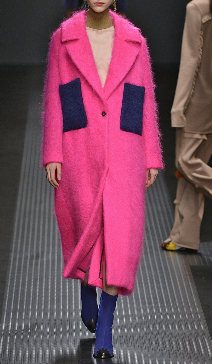 Pink Mohair Coat With Royal Blue Pockets by MSGM | Moda Operandi