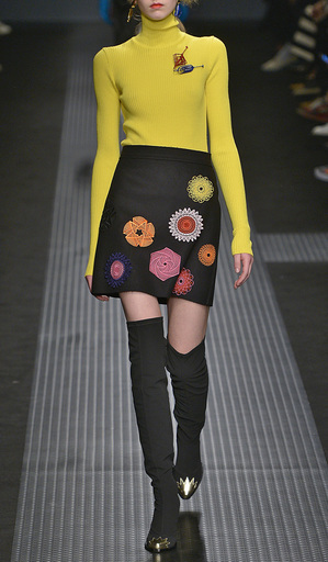 Crepe Mini Skirt With Patch Appliques by MSGM Now Available on Moda Operandi
