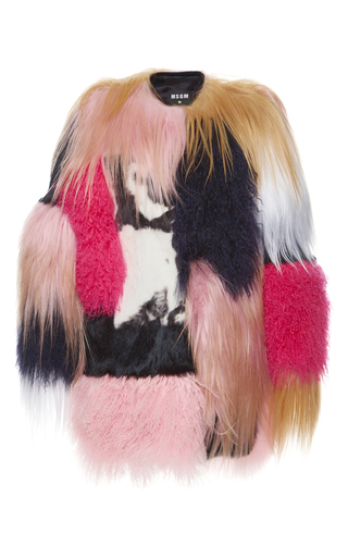 Medium msgm multi short patchwork fur coat