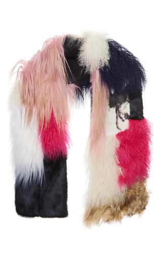 Medium msgm multi patchwork fur scarf in pink