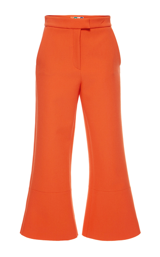 Medium msgm red red double crepe cropped trouser