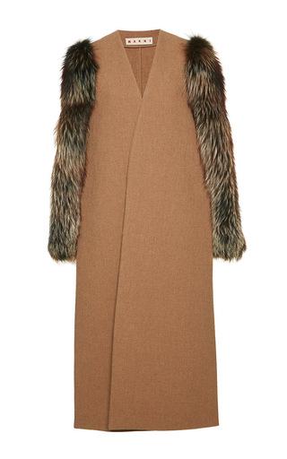 Medium marni brown double wool hopsack open wrap coat