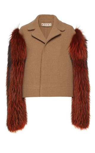 Double Wool Hopsack Jacket With Fur Sleeves by Marni | Moda Operandi