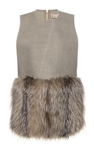 Medium marni dark grey silver fox fur waistcoat