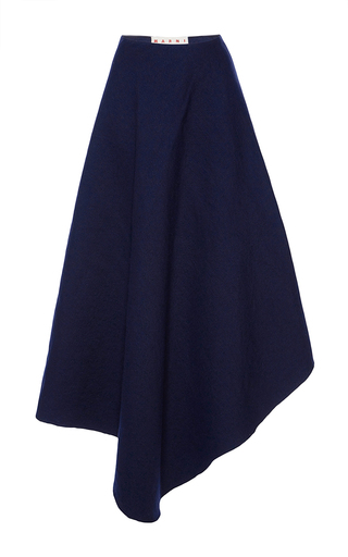 Medium marni blue wool linen circle midi skirt