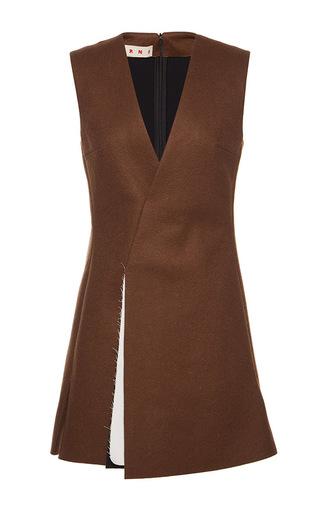 Medium marni brown bonded washed felt sleeveless tunic