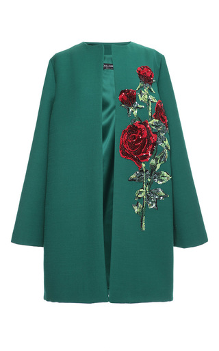 Medium dolce gabbana green double crepe sequin rose embroidered coat