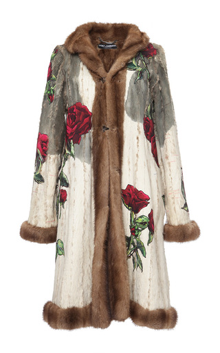 Medium dolce gabbana multi inside out rose cady embellished mink coat