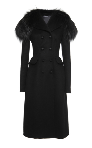 Black Cashmere Coat With Fox Collar by DOLCE & GABBANA Now Available on Moda Operandi