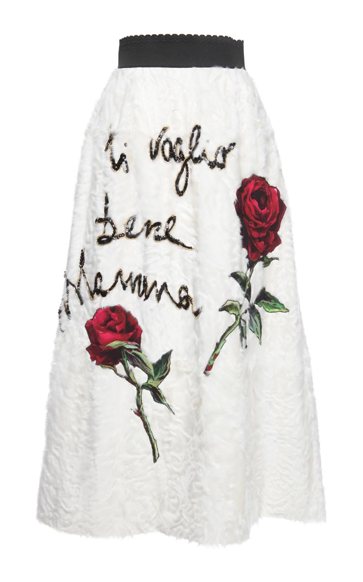 5881511f Embroidered Lamb Fur Midi Skirt by Dolce & Gabbana | Moda Operandi