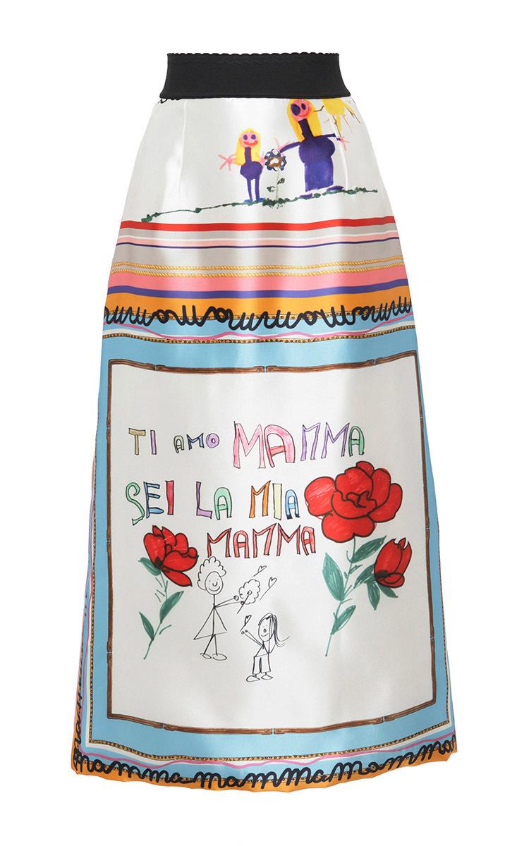 add5e9c8 Drawing Print Mid Length Skirt by Dolce & Gabbana | Moda Operandi