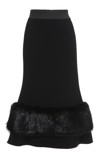 Medium dolce gabbana black double crepe skirt with beaver fur trim