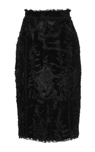 Medium dolce gabbana black lamb fur pencil skirt