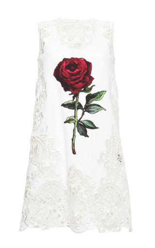 Medium dolce gabbana white intaglio rose applique cady shift dress