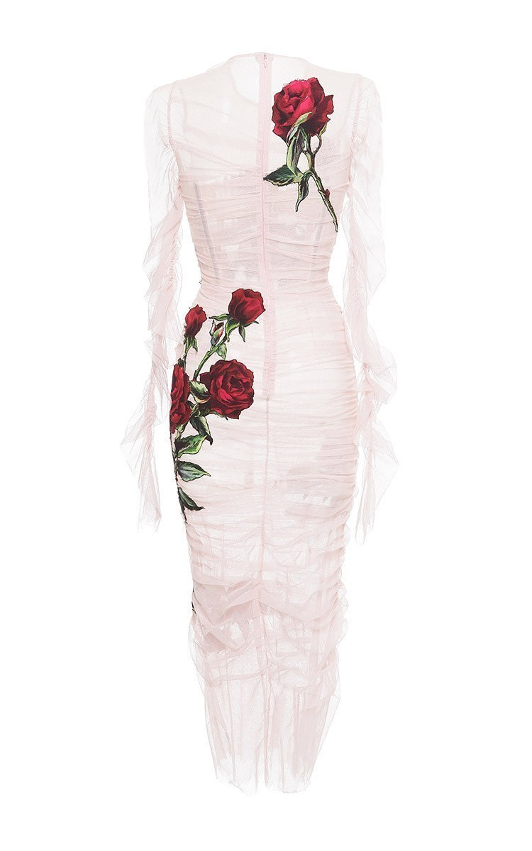 Ruched Tulle Rose Applique Sheath Dress By Dolce &