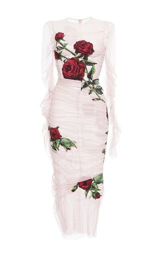 Ruched Tulle Rose Applique Sheath Dress by DOLCE & GABBANA Now Available on Moda Operandi