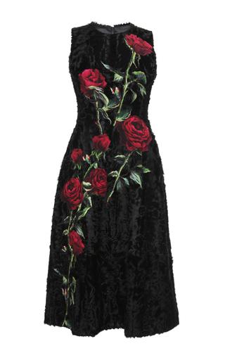 Medium dolce gabbana black sleeveless lamb fur dress with rose applique