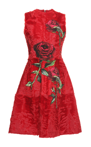 Medium dolce gabbana red sleeveless lamb fur a line dress with rose applique