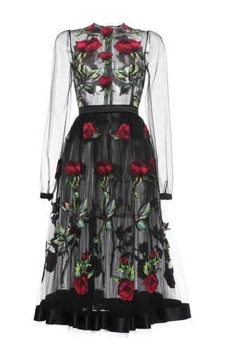 Medium dolce gabbana black rose embroidered full skirt tulle dress