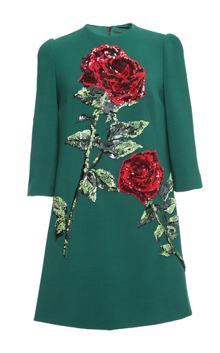 Medium dolce gabbana green double crepe sequin rose embroidered shift