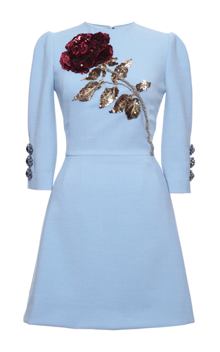 Medium dolce gabbana blue double crepe rose sequin embroidered a line short dress