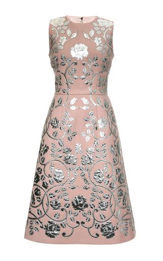 Medium dolce gabbana multi double crepe metallic leather applique a line dress