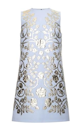 Medium dolce gabbana blue double crepe metallic leather applique shift dress