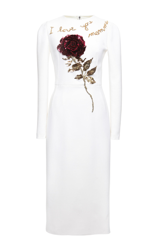 Double Crepe Rose Sequin Embroidered Sheath Dress by DOLCE & GABBANA Now Available on Moda Operandi