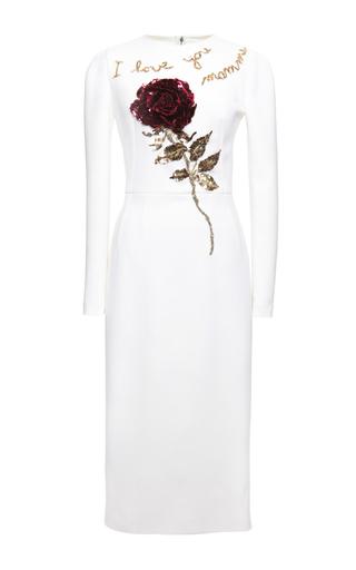 Medium dolce gabbana white double crepe rose sequin embroidered sheath dress