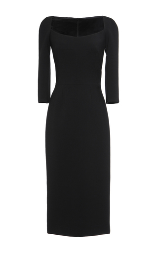 Medium dolce gabbana black double crepe square neck sheath dress
