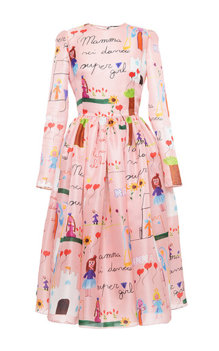 Medium dolce gabbana print drawing print organza full skirt dress