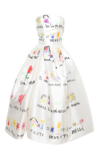 Medium dolce gabbana print drawing print draped bodice cocktail dress