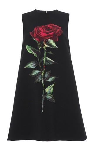 Medium dolce gabbana black double crepe rose applique sheath