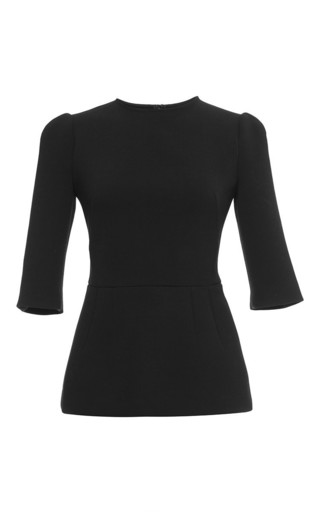 Medium dolce gabbana black techno double crepe fit and flare top