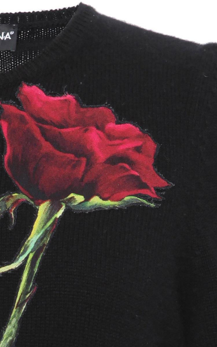 Roses Knitting Centre : Short sleeve rose applique knit by dolce gabbana moda