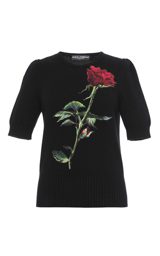 Short Sleeve Rose Applique Knit by DOLCE & GABBANA Now Available on Moda Operandi