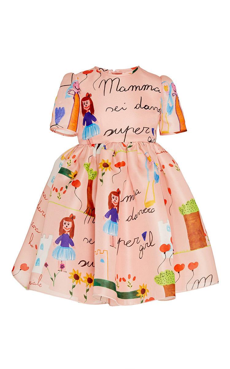 Kid\'s Drawing Print Organza Dress 8-12Y by Dolce & Gabbana   Moda ...