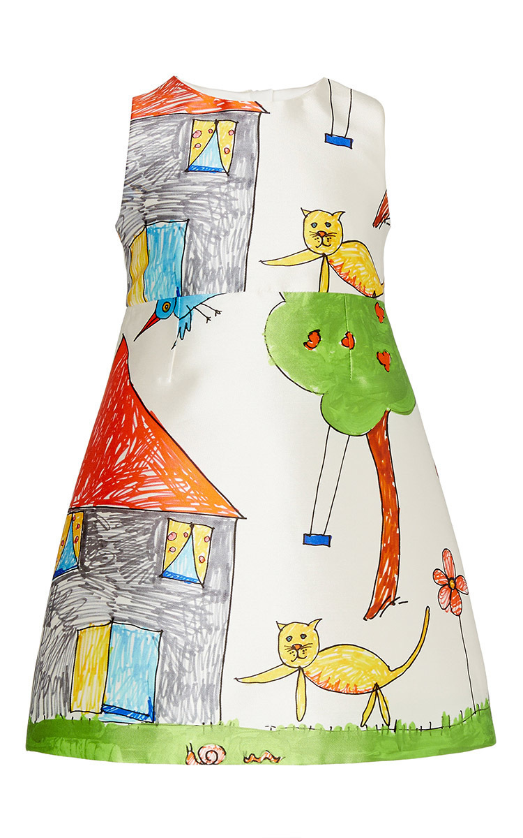 Kid\'s Drawing Cat And House Print Dress 8-12Y by Dolce | Moda Operandi