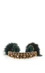 Green Embroidered Nappa Leather Headphones With Fox Fur Trim by DOLCE & GABBANA for Preorder on Moda Operandi