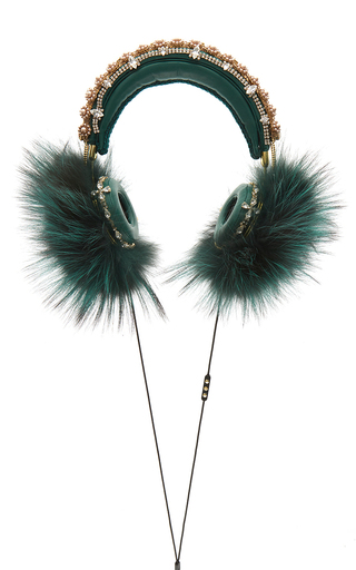 Medium dolce gabbana green green embroidered nappa leather headphones with fox fur trim